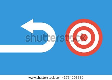 arrow moving back from near