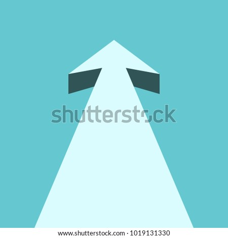 Arrow moving straight forward into turquoise blue sky. Perspective view. Future, business vision, goal and motivation concept. Flat design. Vector illustration