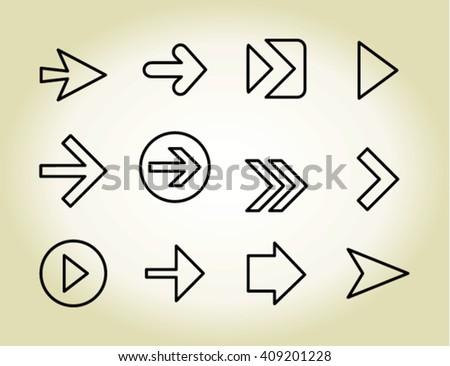Arrow outline icons, vector #409201228