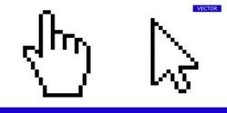 Arrow pixel cursor and pixel mouse hand cursor icon vector illustration set