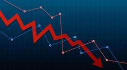 Arrow pointing downwards showing crisis. Stock or financial market crash with copy space. Vector illustration.