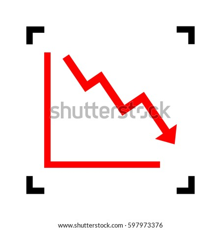 Arrow pointing downwards showing crisis. Vector. Red icon inside black focus corners on white background. Isolated.