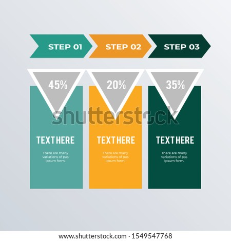 Arrow process infographics template design. Business concept infograph with 3 options, steps, or processes. Vector visualization can be used for workflow layout, diagram, annual report, web