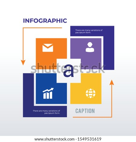 Arrow processed infographic template design. Business concept info graph with 4 icons, options, steps or processes. Vector visualization can be used for workflow layout, diagram, annual report, web