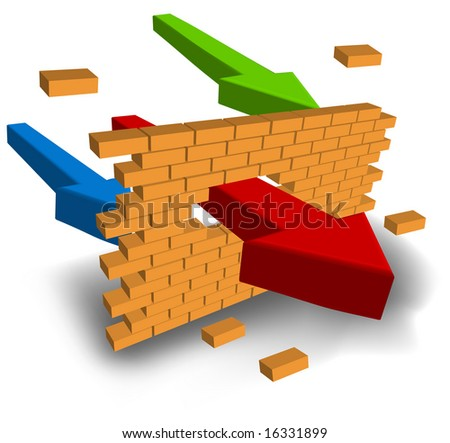 Arrow punching wall aspiring to purpose, business concept, vector illustration