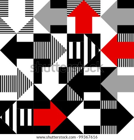 arrow red, black, white seamless pattern