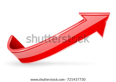 Arrow. Red 3d shiny sign. Vector illustration isolated on white background