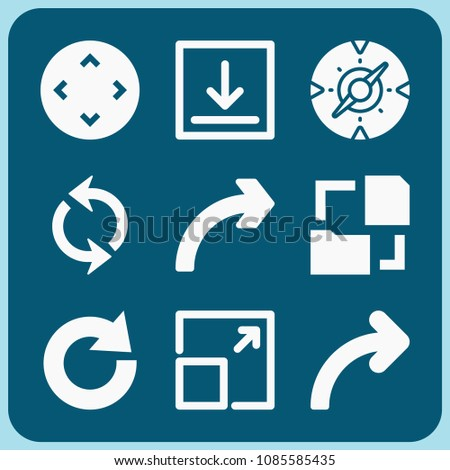 Arrow related set of 9 icons such as arrows circle, expand button, download arrow, controller, compass, redo, curve arrow