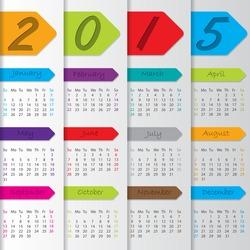 Arrow ribbon calendar design for the year 2015