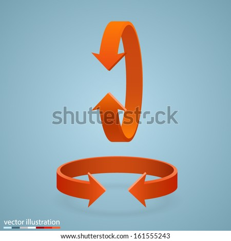 Arrow rotation set, 3d Sign rotation horizontally and vertically, Vector infographic illustration