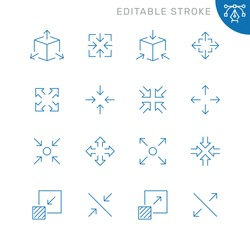 Arrow scaling related icons. Editable stroke. Thin vector icon set