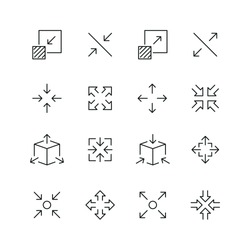 Arrow scaling related icons: thin vector icon set, black and white kit