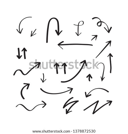Arrow Set Icon Hand Drawing Style Design Element - Vector #1378872530