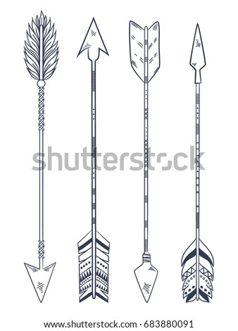 Arrow set in Native American Indian style. Vector hand drawn hipster illustration isolated on white background. Boho design, tattoo art, coloring book for adults. #683880091