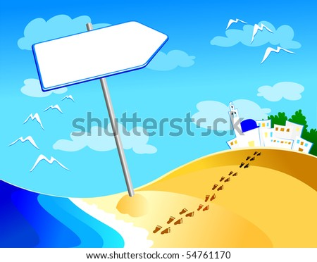 Arrow-shaped sign, on the beach. Vector illustration - stock vector