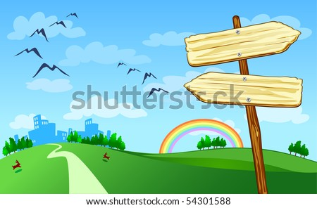 Arrow-shaped signs with the countryside, vector