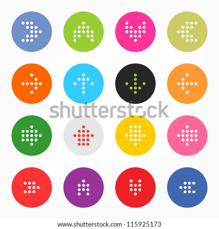 Arrow sign digital display. Popular colors icon retro style. Simple circle shape internet button on gray background. This vector illustration web design elements saved 8 eps