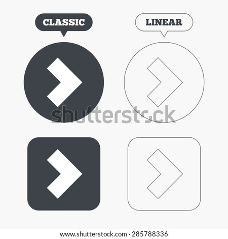 Arrow sign icon. Next button. Navigation symbol. Classic and line web buttons. Circles and squares. Vector