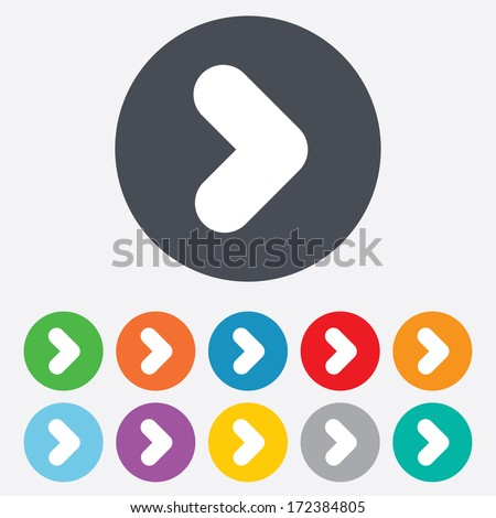 Arrow sign icon. Next button. Navigation symbol. Round colourful 11 buttons. Vector