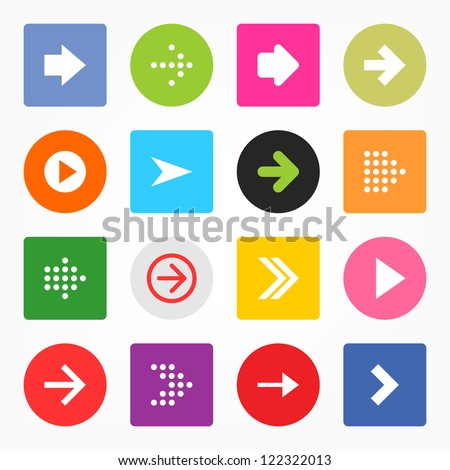 Arrow sign icon set. Simple circle and rounded square internet button on gray background. Solid plain monochrome color flat tile. Minimal metro style. Vector illustration web design elements in 8 eps #122322013