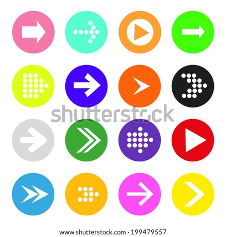 Arrow sign icon set. Simple circle shape internet button on white background. Contemporary modern style #199479557