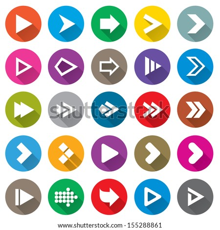 Arrow sign icon set. Simple circle shape internet buttons on white. Flat icons for Web and Mobile Applications. 25 metro style buttons.