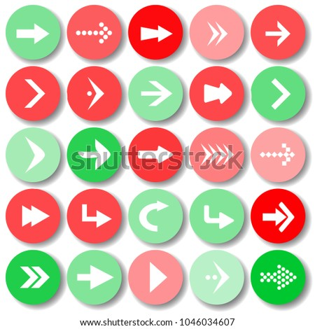 Arrow sign icon set vector illustration web design elements. Simple circle shape internet button on white background. #1046034607