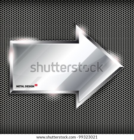 Arrow sign on a metal background.Vector illustration