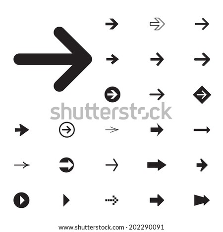 Arrow sign vector icon set. Simple circle shape internet button. #202290091