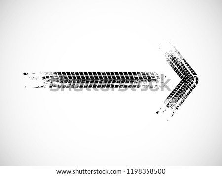 Arrow sign .Vector Print Textured Tire Track . Design Element .Bike thread silhouette