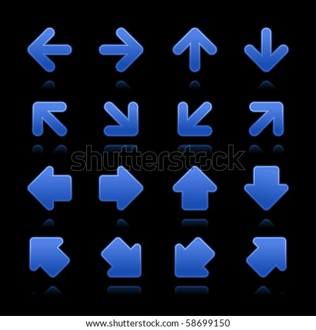 Arrow sign web internet buttons. Cobalt smooth shapes with reflections on black