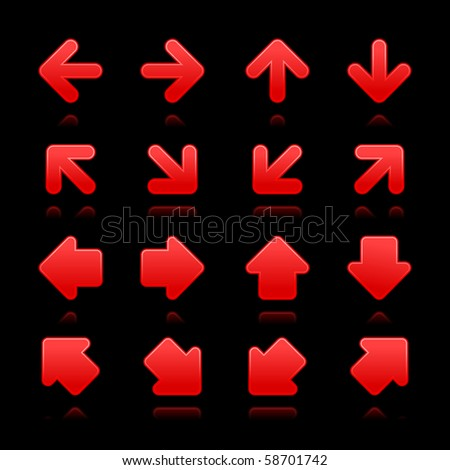 Arrow sign web internet buttons. Red smooth shapes with reflections on black