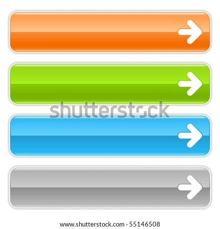 Arrow sign web 2.0 navigation panel. Colored glossy internet buttons with shadow on white background