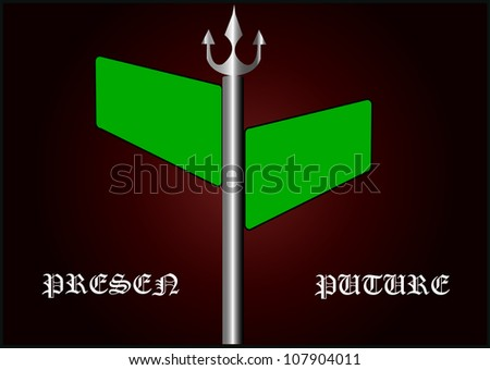 arrow signs reading Past, Present and Future, depicting the choices and decisions involved in picking the right way and looking forward or backward