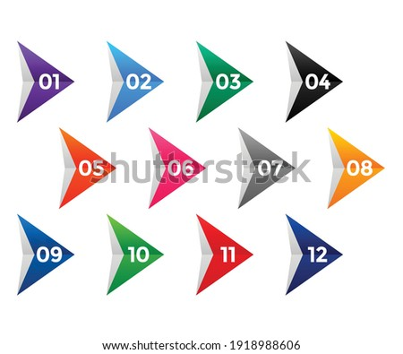 arrow style directional number bullet points Stock foto ©
