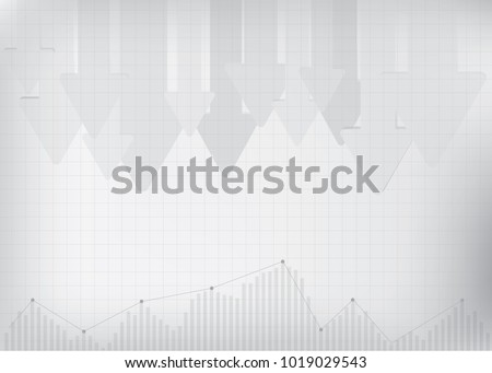 Arrow symbol Pointed down and indicator graphic on gradient gray background. Vector illustration. Copy space. Background for financial presentation.