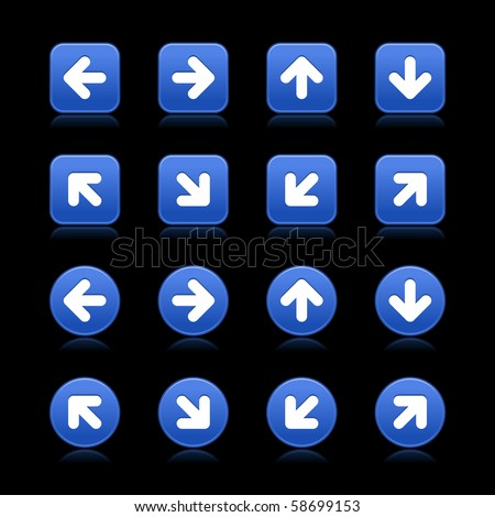 Arrow symbol web internet buttons. Cobalt smooth square and round shapes with reflections on black