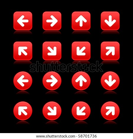 Arrow symbol web internet buttons. Red smooth square and round shapes with reflections on black