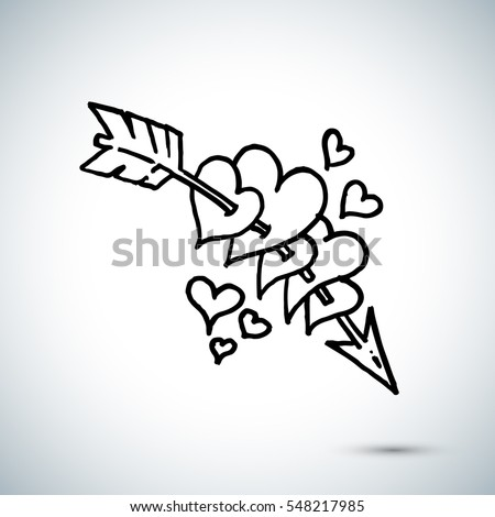 arrow through hearts freehand