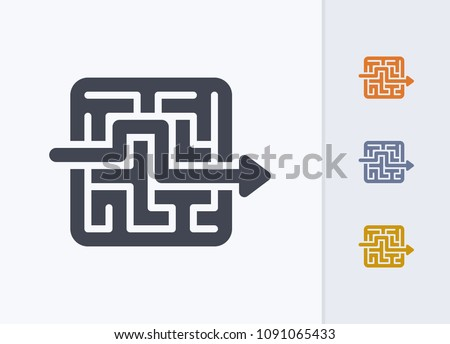 Arrow Through Maze - Pastel Cutwork Icons. A professional, pixel-aligned icon.