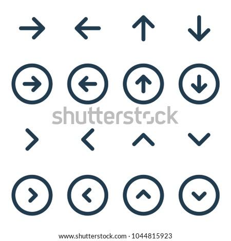Arrow UI line icon set. Vector illustration.