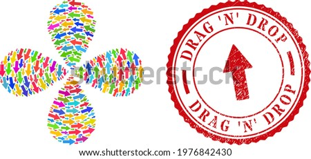 Arrow up colorful curl fireworks, and red round DRAG 'N' DROP rubber stamp imitation. Arrow up symbol inside round stamp print. Object flower with 4 petals created from scattered arrow up symbols. Foto stock ©