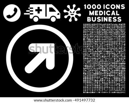 Black directional arrow with white arrow moving upward download arrow up right icon with 1000 medical commerce white vector design elements set style is altavistaventures Gallery