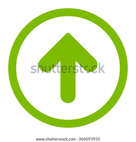 Arrow Up vector icon. This rounded flat symbol is drawn with eco green color on a white background.