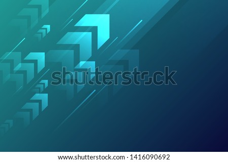 Arrow up with speed line on blue background, copy space composition, technology speed development concept.