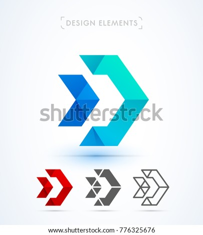 Arrow vector abstract logo design. Origami, material design, flat and line art style