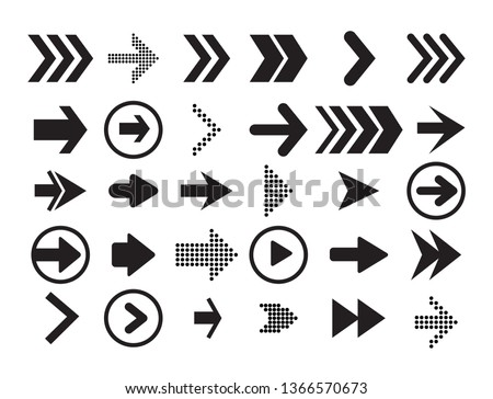 Arrow vector collection Cursor. Black icon set of arrows, back, next, previos icon app or web design. Modern simple arrows. Vector illustration