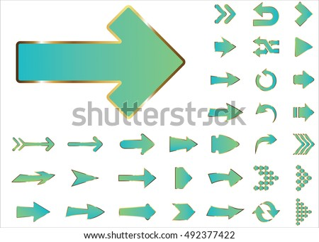 Arrow vector 3d button icon set green color on white background. Isolated interface line symbol for app, web and music digital illustration design. Application sign element collection.