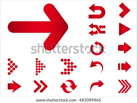 Arrow vector 3d button icon set red color on white background. Isolated interface line symbol for app, web and music digital illustration design. Application sign element collection.
