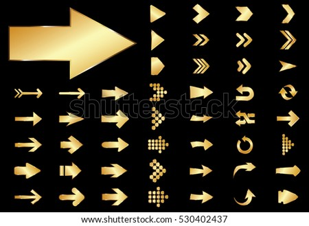 Arrow vector gold curve line up 3d button icon set interface symbol for app, web and music digital illustration design. Application isolated flat digital sign collection on black background